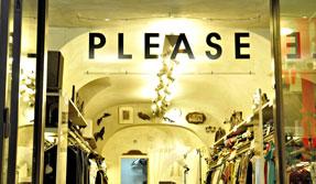 Interno del negozio, zona moda uomo